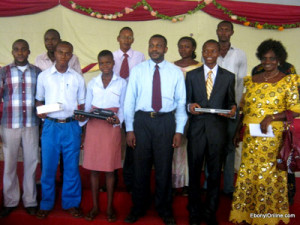 Winners of an essay contest for Ebonyi students sponsored by EbonyiOnline receive laptops and other prizes