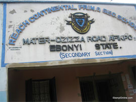 Signboard of Reach Continental Schools, Afikpo, Ebonyi State