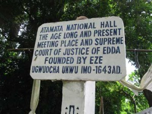A sign in front of Atamata National Hall in Edda, Ebonyi State