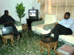 Edward Nwachi discusses EbonyiOnline with the Speaker of Ebonyi State House of Assembly, Barr. Nwankwegu